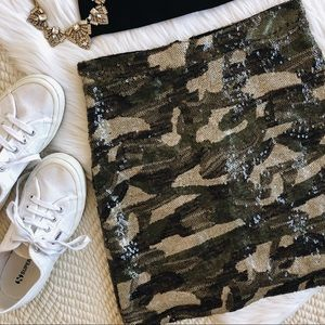 Topshop sequin camo mini skirt